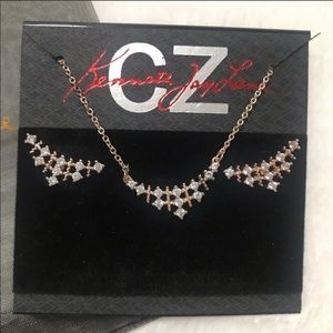 CZ Kenneth Jay Lane Rose Gold Earrings & Necklace